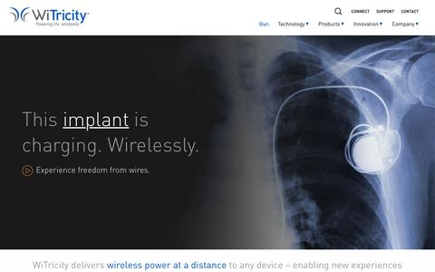 Screenshot of Home Page witricity.com - WiTricity: Powering life, wirelessly. - captured Feb. 10, 2017