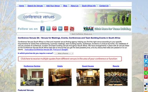 Screenshot of Home Page conference-venues.co.za - Conference Venues SA - Venues for Meetings, Events and Conferences - captured Oct. 2, 2014