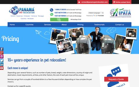 Screenshot of Pricing Page panamapetrelocation.com - Optimised Pricing for Pet Relocation into Panama - captured July 15, 2018