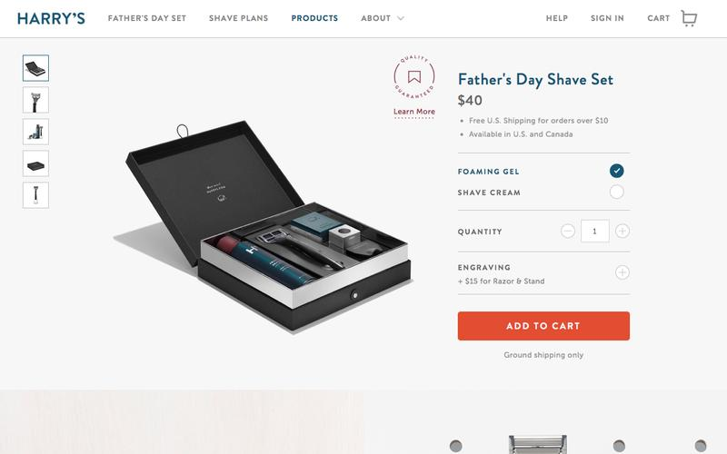 Screenshot Father's Day Shave Set | Harry's - Great Shave. Fair Price. Simple.