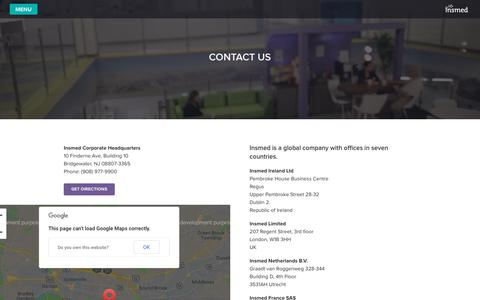 Screenshot of Contact Page insmed.com - CONTACT US - Insmed - captured Oct. 12, 2018