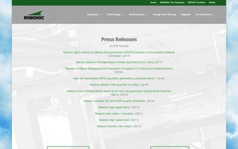Screenshot of Press Page robonic.fi - Press Releases - Robonic - captured Nov. 3, 2017