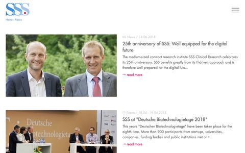 Screenshot of Press Page cro-sss.de - News - SSS International Clinical Research - captured Oct. 1, 2018