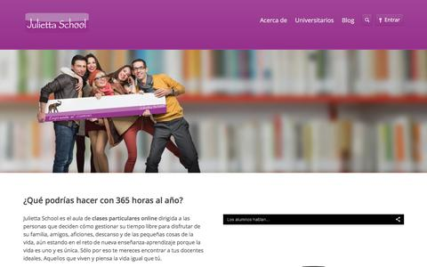 Screenshot of Home Page juliettaschool.com - Clases Particulares online - Julietta School - captured Jan. 9, 2016