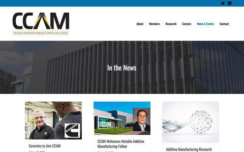Screenshot of Press Page ccam-va.com - In the News – CCAM | Commonwealth Center for Advanced Manufacturing - captured Nov. 10, 2018