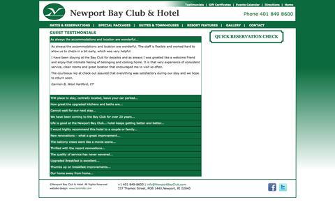 Screenshot of Testimonials Page newportbayclub.com - Newport Bay Club and Hotel. Guest Testimonials - captured Oct. 7, 2014