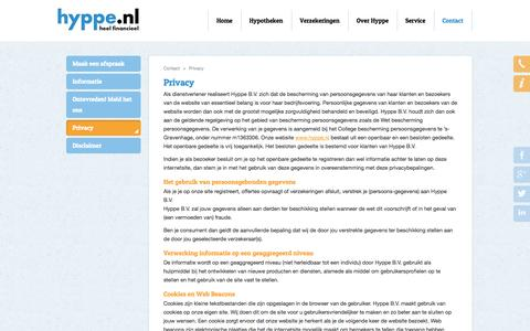 Screenshot of Privacy Page hyppe.nl - Contact - Privacy | Hyppe, Hypotheken en Verzekeringen | Huizen, Hilversum - captured Oct. 3, 2014