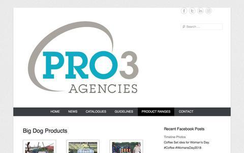 Screenshot of Products Page pro3agencies.co.za - Big Dog Products | Pro3 Agencies - captured July 22, 2018