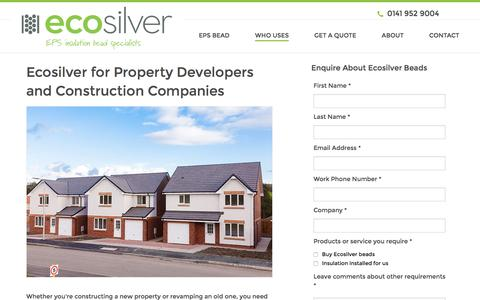 Screenshot of Developers Page ecosilver.co.uk - Ecosilver for Property Developers and Construction Companies - captured July 2, 2016