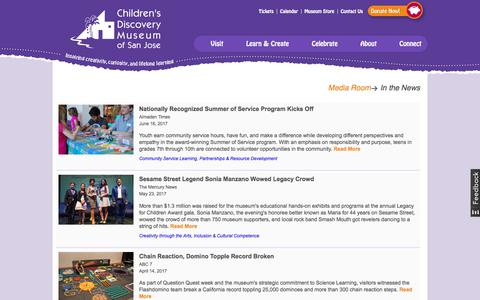 Screenshot of Press Page cdm.org - In the News Archive   Children's Discovery Museum of San Jose - captured June 30, 2017