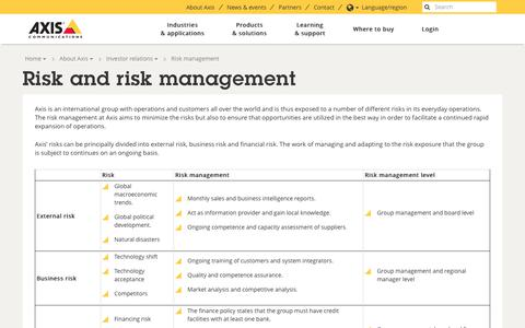 Screenshot of axis.com - Risk and risk management | Axis Communications - captured Oct. 8, 2017