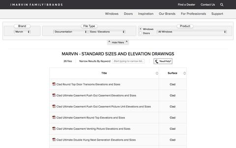 Screenshot of Support Page marvin.com - Technical Document Library for Our Products | Marvin Family of Brands - captured Sept. 29, 2017