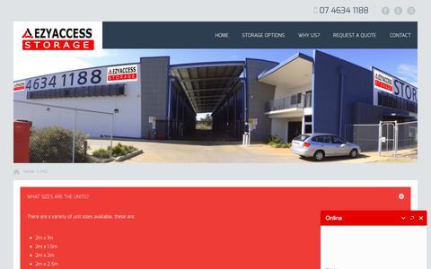 Screenshot of FAQ Page ezyaccessstorage.com.au - FAQ - Ezy Access Storage | Self Storage Toowoomba - captured July 24, 2018