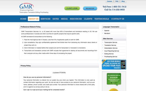 Screenshot of Privacy Page gmrtranscription.com - GMR Transcription Services, Inc.  Privacy Policy - captured Sept. 22, 2014