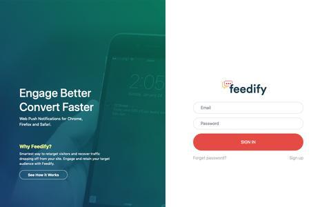 Screenshot of Login Page feedify.net - Feedify | Login - captured Nov. 2, 2018