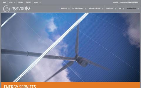 Screenshot of Services Page norvento.com - energy services | Norvento renewable energy - captured Oct. 7, 2014