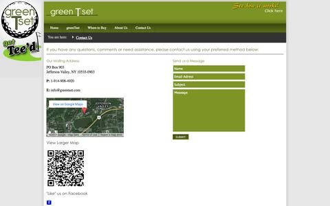 Screenshot of Contact Page Support Page greentset.com - greenTset - Golf Aid, Teeing Device - Tee your golf balls effortlessly - Contact Us - captured Oct. 24, 2014