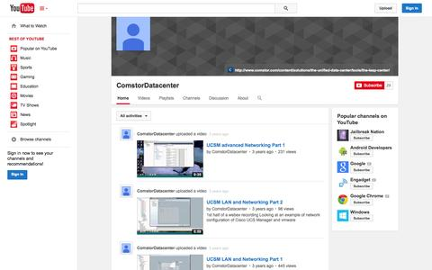Screenshot of YouTube Page youtube.com - ComstorDatacenter  - YouTube - captured Oct. 22, 2014