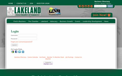 Screenshot of Login Page lakelandchamber.com - Login - Lakeland Area Chamber of Commerce - captured Oct. 19, 2016