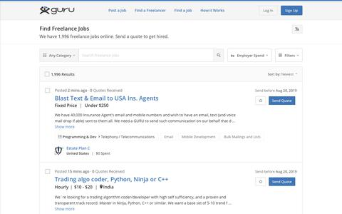 Screenshot of Jobs Page guru.com - Search Top Freelance Jobs & Projects Posted Online - Guru - captured July 21, 2019
