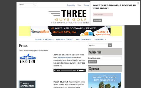 Screenshot of Press Page threeguysgolfblog.com - Press | Three Guys Golf - captured Sept. 23, 2014
