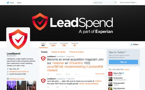 Screenshot of Twitter Page twitter.com - LeadSpend (@LeadSpend) | Twitter - captured Oct. 14, 2015
