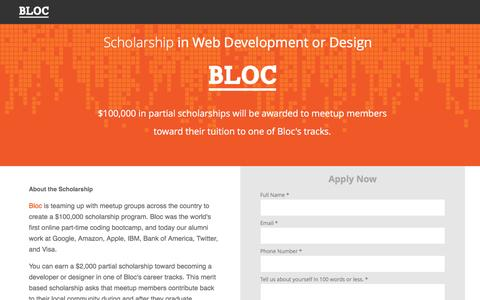 Screenshot of Landing Page bloc.io - Bloc | Meetup Bootcamp Scholarship - captured Oct. 29, 2016