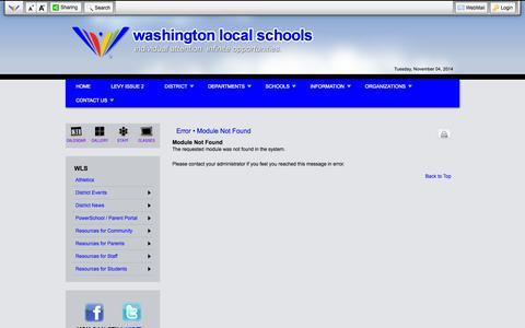 Screenshot of Login Page wls4kids.org - Error • Module Not Found - Washington Local Schools - captured Nov. 5, 2014