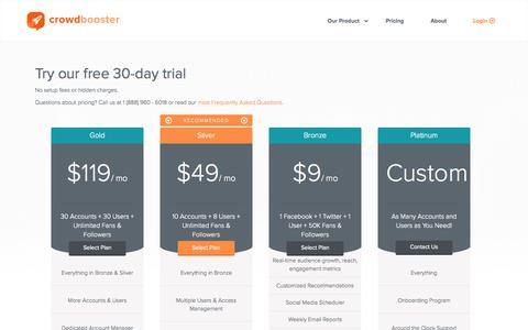 Screenshot of Pricing Page crowdbooster.com - Crowdbooster Plans and Pricing - captured Nov. 23, 2015