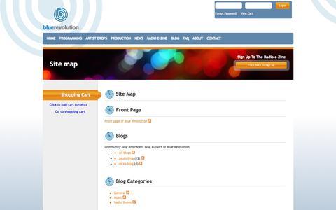 Screenshot of Site Map Page bluerevolution.com - Site map - captured Sept. 30, 2014