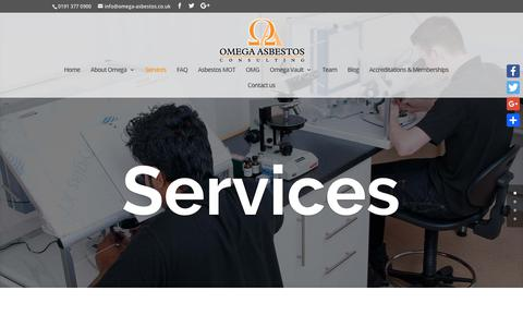 Screenshot of Services Page omega-asbestos.co.uk - Services | Omega Asbestos Consulting - captured Oct. 19, 2018