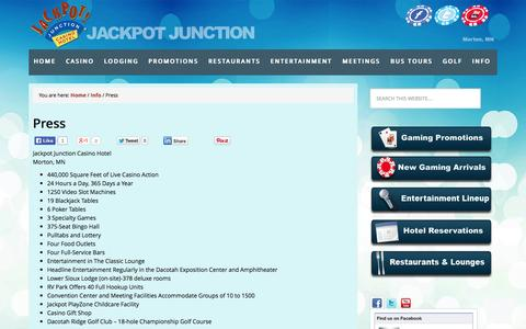 Screenshot of Press Page jackpotjunction.com - Press    Jackpot Junction Casino Hotel in Morton, MN - Casino Gaming, Entertainment, Lodging, Promotions - captured Oct. 27, 2014