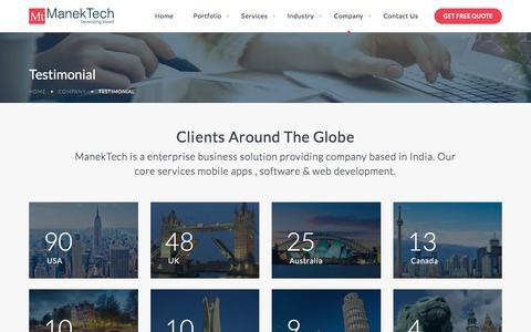 Screenshot of Testimonials Page manektech.com - Client Testimonials of ManekTech - captured July 18, 2018