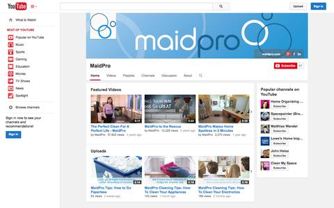 Screenshot of YouTube Page youtube.com - MaidPro  - YouTube - captured Oct. 22, 2014