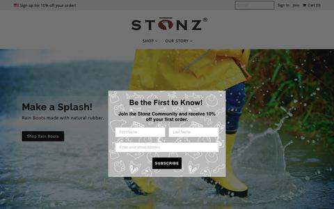 Screenshot of Home Page stonzwear.com - Stonz   Baby and Children's Footwear, Apparel and Accessories - captured Oct. 1, 2018