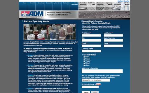 Screenshot of Landing Page americandouglasmetals.com - Red and Specialty Metals | American Douglas Metals - captured Oct. 27, 2014