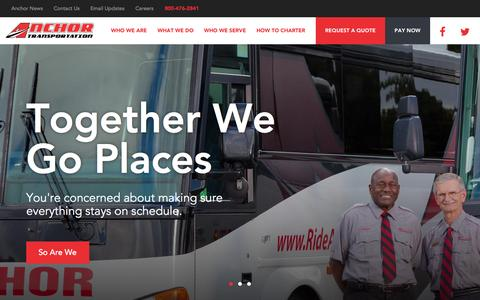 Screenshot of Home Page anchortransportation.com - Home - Bus Rentals, Group Charters, Motorcoach Transportation | Anchor Transportation - captured Sept. 10, 2015