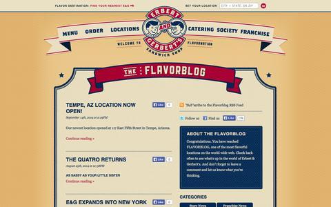 Screenshot of Blog erbertandgerberts.com - Flavorblog | Erbert & Gerbert's Sandwich Shop - captured Sept. 22, 2014