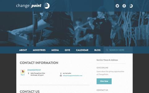 Screenshot of Contact Page changepointalaska.com - Contact Us | ChangePoint Alaska - captured Nov. 4, 2016