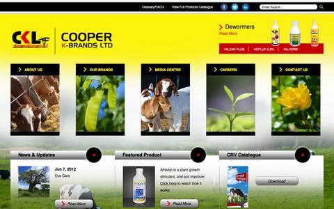Screenshot of Home Page coopers.co.ke - Cooper K-Brands Ltd - Home - captured Nov. 12, 2016