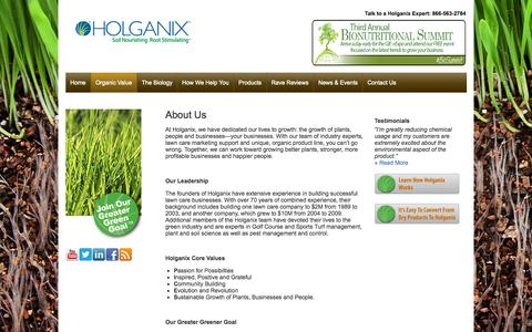 Screenshot of About Page holganix.com - Holganix - Information about the Holganix company and leadership team - captured Oct. 28, 2014