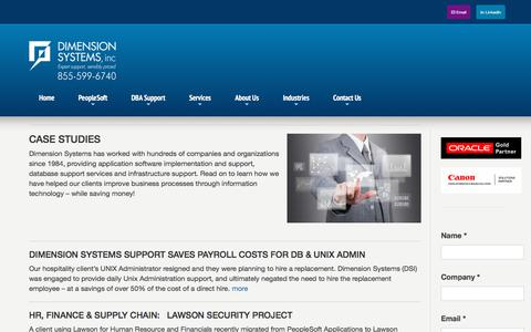 Screenshot of Case Studies Page dsisys.com - Case Studies | Dimension Systems - captured Oct. 12, 2017