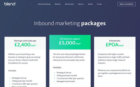 Screenshot of Pricing Page blendb2b.com - Inbound Marketing Packages   Marketing Services   Agency Pricing - captured Jan. 24, 2018