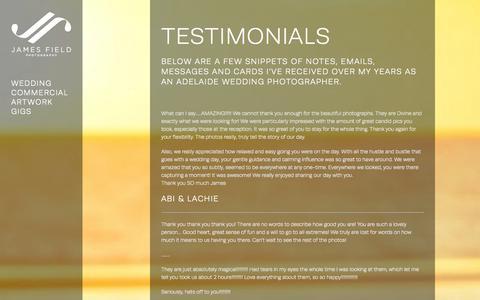 Screenshot of Testimonials Page jame.com.au - Wedding Photography Testimonials - James Field Photography - captured Oct. 6, 2014