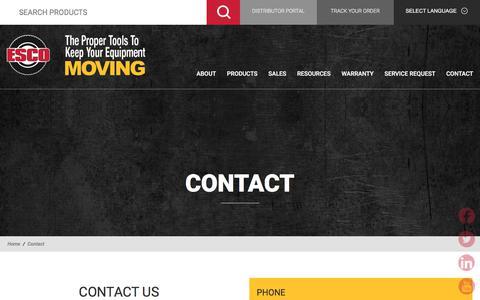 Screenshot of Contact Page esco.net - Contact | ESCO - captured Sept. 26, 2018