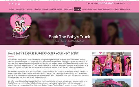 Screenshot of Contact Page babysbadassburgers.com - Book The Baby's Truck - Baby's Badass Burgers - Los Angeles - 877-YO-BABYS (877-962-2297) - captured June 24, 2018