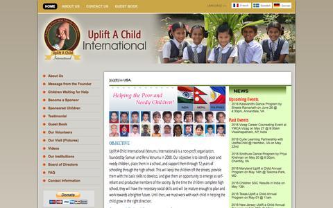 Screenshot of Home Page upliftachild.org - :: UpLift A Child International :: - captured June 23, 2016