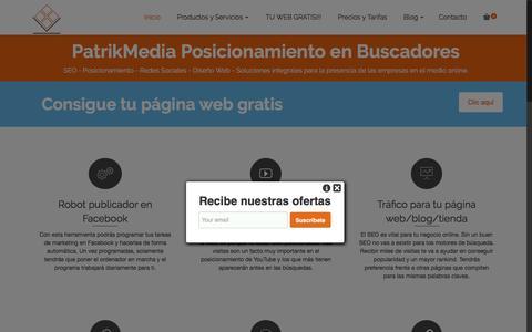 Screenshot of Home Page patrikmedia.com - Posicionamiento en Buscadores Google SEO Diseño web - captured Feb. 19, 2016