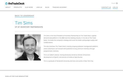 Screenshot of Team Page thetradedesk.com - Tim Sims | The Trade Desk - captured June 8, 2017