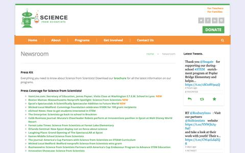 Screenshot of Press Page sciencefromscientists.org - Newsroom - Science from Scientists - captured Nov. 6, 2018